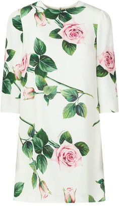 Dolce & Gabbana Rose Print Long Sleeves Dress