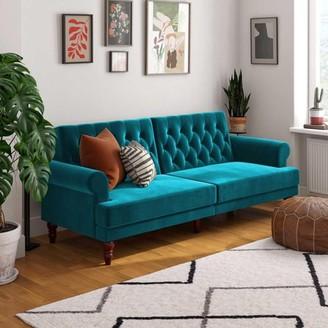 Novogratz Upholstered Cassidy Futon, Convertible Sofa Bed, Green Velvet