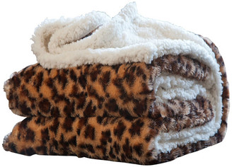 Lavish Home Animal Print Fleece Sherpa Blanket Throw, Leopard
