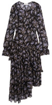 Zimmermann Ruffled Floral-print Silk-georgette Dress - Black