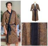 Men's Cotton Robe in Hand Stamped Batik, 'Copper Puzzle'