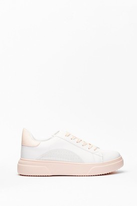 Nasty Gal Womens Run This Town Faux Leather Two-Tone Sneakers - Nude