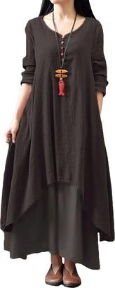 Romacci Women Boho Dress Casual Irregular Maxi Dresses Vintage Loose Long Sleeve Cotton Viscose Dress