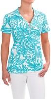 Caribbean Joe Printed and Textured Polo Shirt - Short Sleeve (For Women)