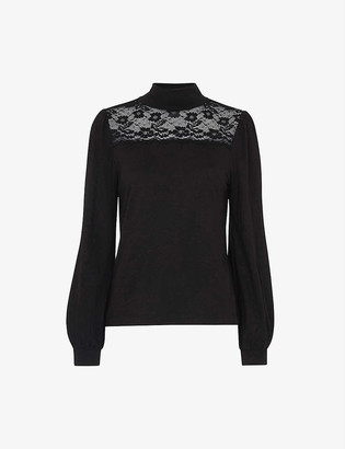 Whistles Lace-embellished cotton-blend top