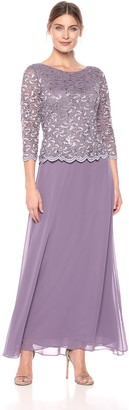 Alex Evenings Women's Long Dress with Scalloped Trim