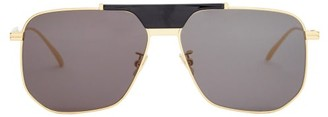 Bottega Veneta Aviator Metal Sunglasses - Gold