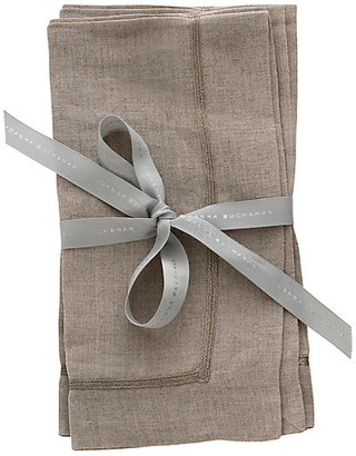 Joanna Buchanan Set of 2 Linen Dinner Napkins - Flax/Silver