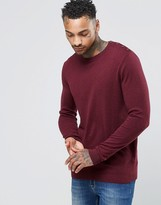 Asos Cotton Sweater with Button Shoulder in Burgundy Cotton
