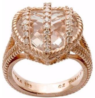 Judith Ripka 14K Clad Rock Crystal Quartz Diamonique Ring
