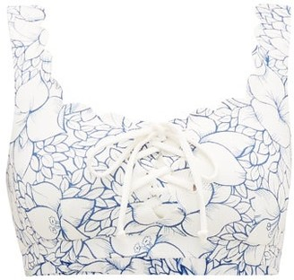 Marysia Swim Palm Springs Scalloped Floral-print Bikini Top - Womens - Blue Print