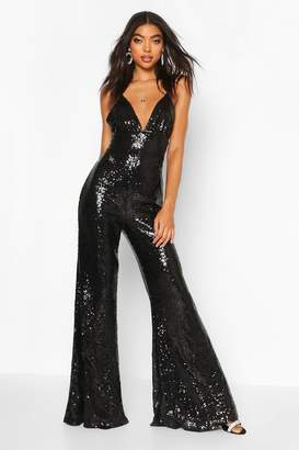 boohoo Tall Wide Leg Sequin Jumpsuit