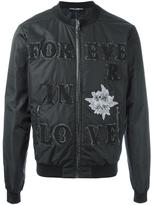 Dolce & Gabbana Forever In Love bomber - men - Cotton/Linen/Flax/Sheep Skin/Shearling/Wool - 48