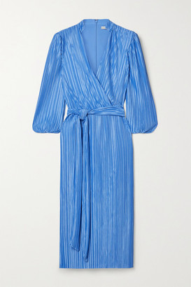 Alice + Olivia Katina Belted Wrap-effect Plisse-satin Midi Dress - Blue