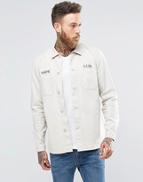 Asos Military Overshirt With Badge Detail In Stone