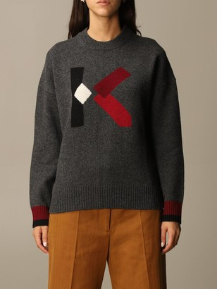 Kenzo Pullover In Two-tone Ribbed Wool Blend