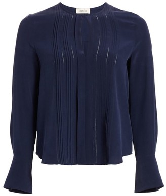 L'Agence Simone Pleated Silk Blouse