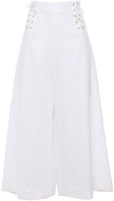 Isolda Lace-up Linen-gauze Wide-leg Pants