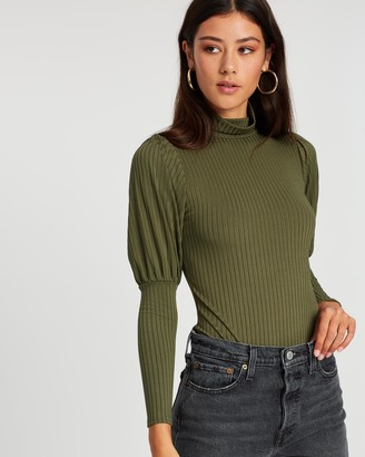 boohoo Rib High Neck Blouson Sleeve Bodysuit