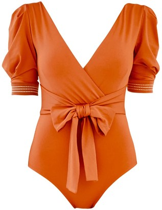 Qua Vino Volume Puff Sleeves One Piece Swimwear - Juju Garden Tangerine