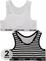 Very Girls Stripe and Plain Bralette Tops (2 Pack)