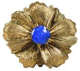 Stephen Dweck Gold Tone Hardware with Blue Lapis Floral Ring Size 6
