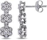 Laura Ashley 1/2 CT TW Diamond 10K White Gold Triple Flower Drop Earrings