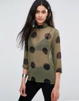 Ichi X Bimara Sheer Polk Dot Shirt