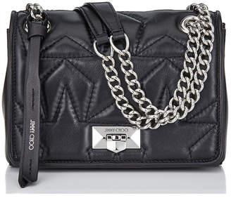 Jimmy Choo HELIA SHOULDER BAG/S Black and Silver Star Matelasse Nappa Shoulder Bag with Chain Strap