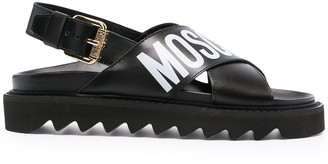 Moschino Logo-Print Chunky Leather Sandals