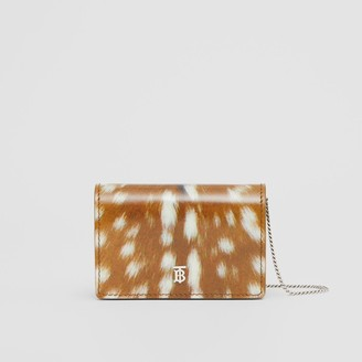 Burberry Deer Print Leather Card Case with Detachable Strap
