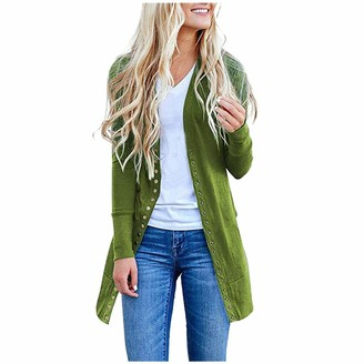 Quintra Women Cardigan Womens QUINTRA Ladies Autumn Winter Solid Color Long Button Cardigan Knit Jacket Long Open Front Drape Long Sleeve Cardigan Maxi Waterfall Coat Green