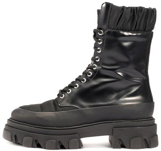 Ganni Brush Off and Nylon Combat Boot in Black