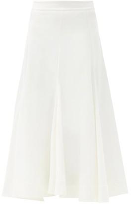 Jil Sander High-rise Godet-panel Twill Midi Skirt - Ivory