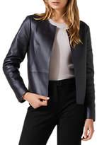 Jigsaw Edge To Edge Leather Jacket, Navy