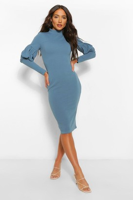 boohoo High Neck Puff Sleeve Midi Dress
