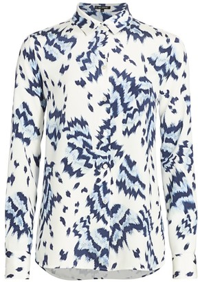 St. John Painted Butterfly-Print Silk Crepe de Chine Blouse