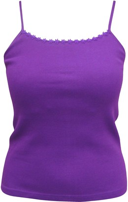 TeddyT's Ladies Plain Strappy Summer Vest Top with Floral Daisy Trim (Small (8-10)