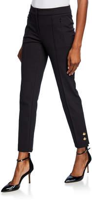 Escada Tuskona Golden-Button Cuff Straight Leg Pants