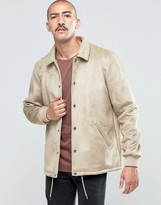 Asos Faux Suede Coach Jacket In Stone
