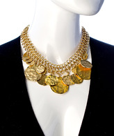 Kenneth Jay Lane Gold Disc and Chain Bib Necklace