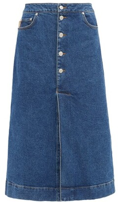 Ganni Slit-front Denim Midi Skirt - Denim