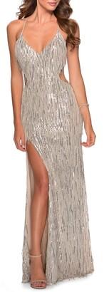 La Femme Long Fringe Sequin Gown
