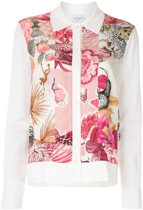 Salvatore Ferragamo Floral Print Collared Cardigan