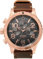 Nixon 48-20 Chrono Leather 48mm Chronograph Watch in Rose Gold