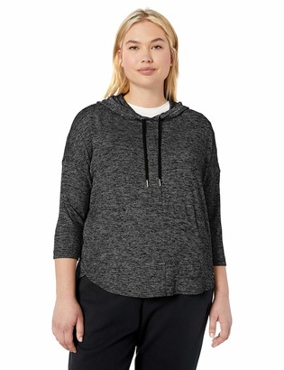 Calvin Klein Women's Plus Size 3/4 Sleeve Crossover Pullover Hoodie
