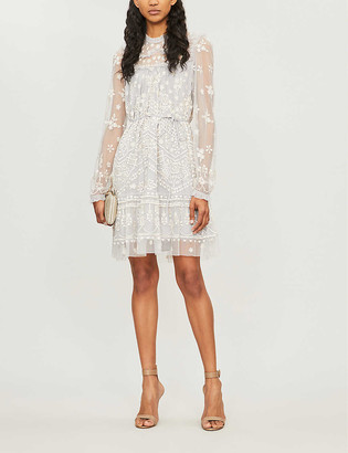 Esme floral-embroidered chiffon dress