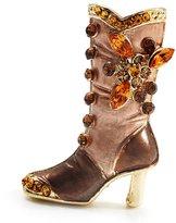 Avalaya Honey Brown Enamel Crystal High Boot Pin Brooch (Gold Tone Metal)