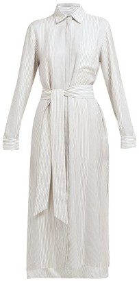 ODYSSEE Fontanne Striped Tie-waist Shirtdress - White