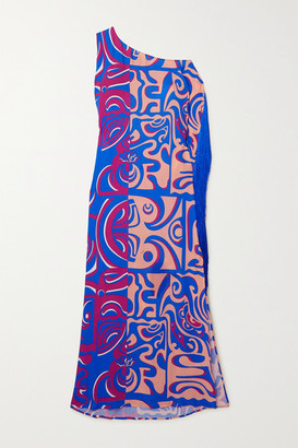 Emilio Pucci Tiki Asymmetric Fringed Printed Crepe De Chine Maxi Dress - Blue